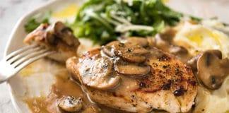 Emincé de poulet à la sauce aux champignons